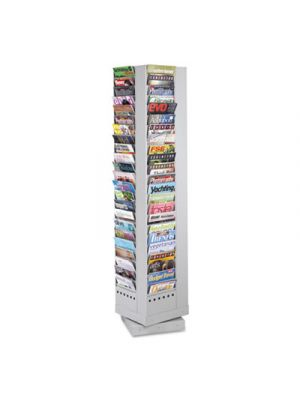 Steel Rotary Magazine Rack, 92 Compartments, 14w x 14d x 68h, Gray