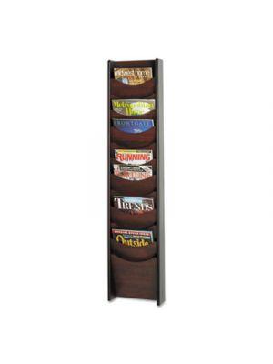 Solid Wood Wall-Mount Literature Display Rack, 11-1/4w x 3-3/4d x 48h, Mahogany