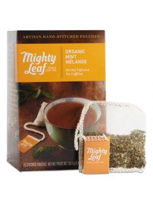 Whole Leaf Tea Pouches, Organic Mint Melange, 15/Box