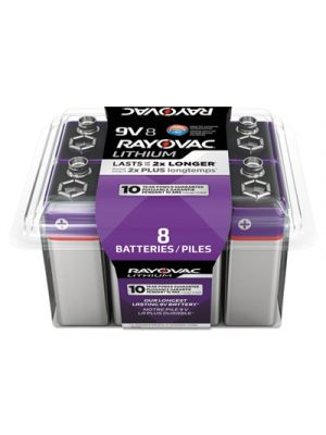 Lithium Batteries, 9V, 8/Pack