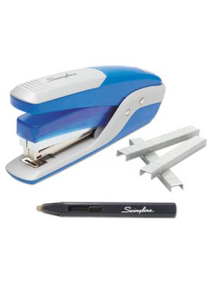 Quick Touch Stapler Value Pack, 28 Sheet Capacity, Blue/Silver