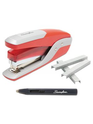 Quick Touch Stapler Value Pack, 28 Sheet Capacity, Red/Silver
