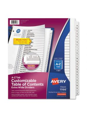 Ready Index Customizable Table of Contents Dividers, 26-Tab, White