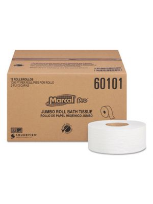 100% Recycled Bathroom Tissue, 2-Ply, White, 1000 ft/Roll, 12 Rolls/CT