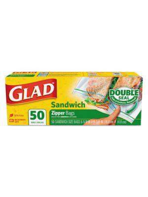 Sandwich Zipper Bags, 6 5/8 x 5 7/8, Clear, 50/Box, 12/Carton