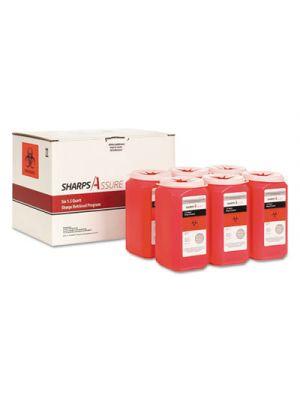 Sharps Retrieval Program Containers, 1.5 qt, Plastic, Red, 6/Box