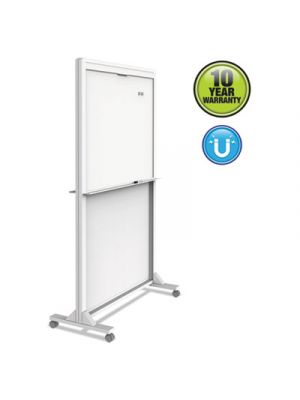 Motion Dual-Track Mobile Magnetic Dry-Erase Easel, Two 40 1/2 x 34 Panels, White