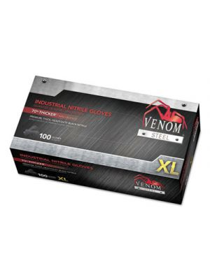 Venom Steel Industrial Nitrile Gloves, Black, X-Large, 100/Box