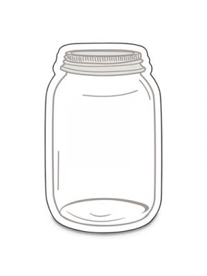 Single Design Cut-Outs, Mason Jars, White/Gray, 3