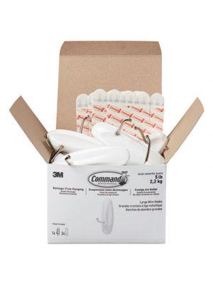 General Purpose Hooks, Metal, White, 5 lb Cap, 14/Pack