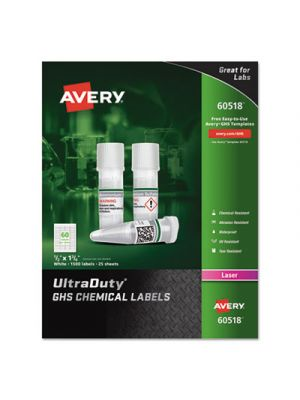 UltraDuty GHS Chemical Labels, Laser, 1/2 x 1 3/4, White, 60/Sheet, 25 Sheets/PK
