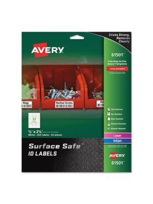 Surface Safe ID Labels, Inkjet/Laser, 7/8 x 2 5/8, White, 33/Sheet, 25 Sheets/PK