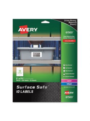 Surface Safe ID Labels, Inkjet/Laser, 2 x 3 1/2, White, 10/Sheet, 25 Sheets/PK