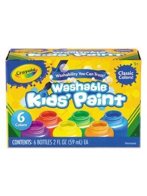 Washable Paint, 6 Colors, Blue/Green/Orange/Red/Violet/Yellow, 2 oz