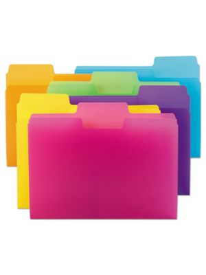SuperTab Poly Top Tab File Folder, 1/3 Tab, Letter, Assorted, 18/Pack
