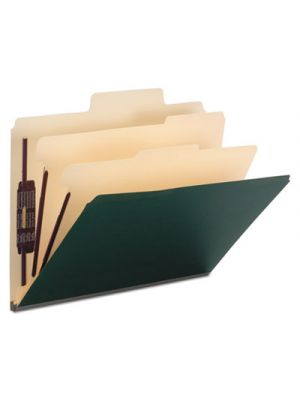 Colored Top Tab Classification Folders, 6 Sections, Letter, Dark Green, 10/BX