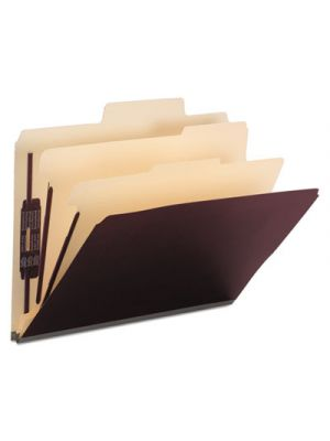Colored Top Tab Classification Folders, 6 Sections, Letter, Maroon, 10/BX