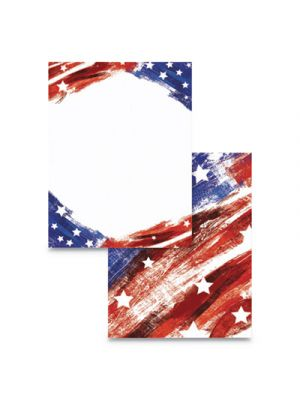 Pre-Printed Paper, 28 lb, 8 1/2 x 11, Red/White/Blue, 100 Sheets/RM