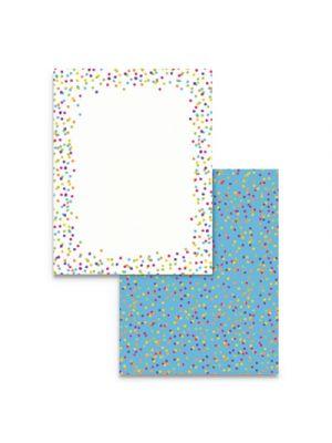Pre-Printed Paper, 28 lb, 8 1/2 x 11, Multicolor, Watercolor Dots, 100 Sheets/RM
