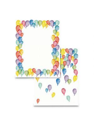 Pre-Printed Paper, 28 lb, 8 1/2 x 11, Multicolor, Balloons, 100 Sheets/RM