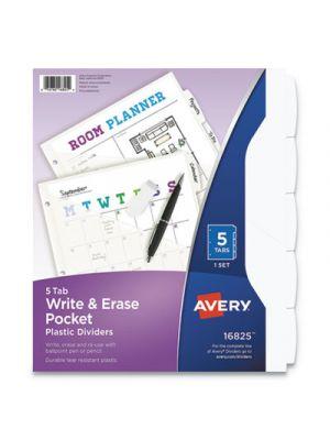 Write & Erase Plastic Dividers w/Pocket, 5-Tab, 9 1/4