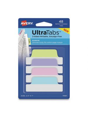 Ultra Tabs Repositionable Tabs, 2.5 x 1, Assorted Pastel, 48/PK