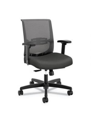 Convergence Mid-Back Task Chair, Gray/Black, Base: Black