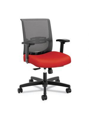 Convergence Mid-Back Task Chair, Red/Black, Base: Black