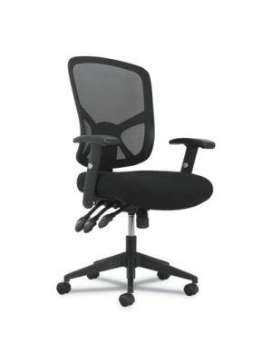 1-Twenty-One High-Back Task Chair, Black Mesh Back/Black Fabric Seat