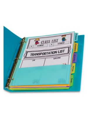 5-Tab Index Dividers with Multi-Pockets, 5-Tab, 11 1/2