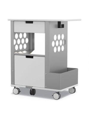 Mobile Storage Cart, 28w x 20d x 33 1/2h, White, 150lbs Cap.