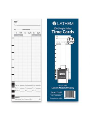 E17-100 Time Card, Bi-Weekly/Monthly/Semi-Monthly/Weekly, One Side, 9