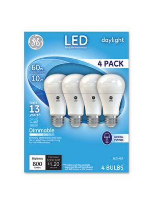 LED Daylight A19 Dimmable Light Bulb, 10W, 4/Pack