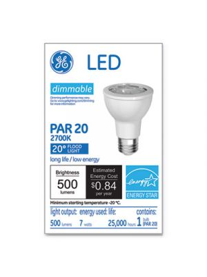 LED PAR20 Dimmable Warm White Flood Light Bulb, 2700K, 7W