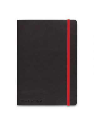 Flexible Casebound Notebooks, Legal, Black/Red Cover, 8 1/4 x 5 3/4, 72 Pages