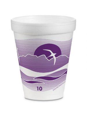 Foam Drink Cups, 10 oz, White/Purple, 1000/Carton