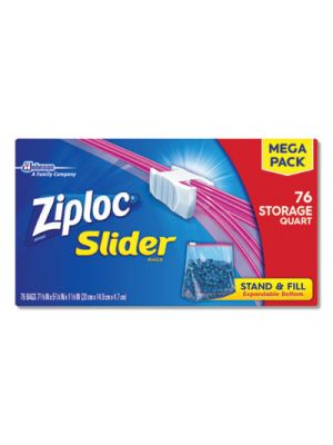 Slider Storage Bags, Quart, Clear, 9/Carton