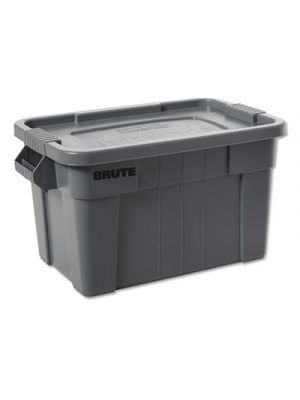 BRUTE Tote with Lid, 14 gal, 27 1/2w x 16 3/4d x 10 3/4h, Gray