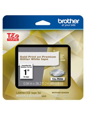 TZe Premium Laminated Tape, 24mm x 4m, Gold on White