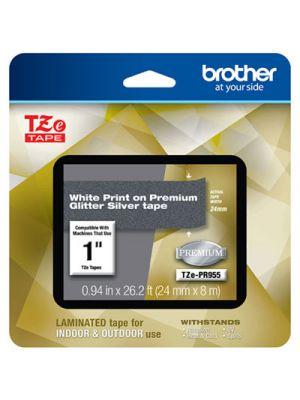 TZe Premium Laminated Tape, 24mm x 8m, White on Silver