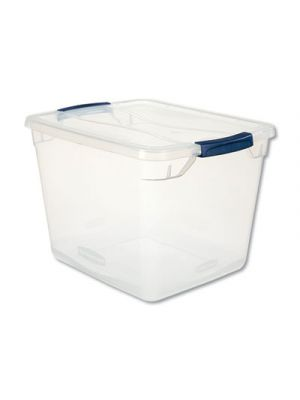 Clever Store Basic Latch-Lid Container, 13 3/8w x 16 7/8d x 11 1/2h, 30qt, Clear
