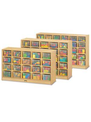 Tray Mobile Storage, 57w x 15d x 35-1/2h, Birch