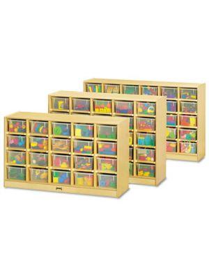 Tray Mobile Storage, 57w x 15d x 35-1/2h, Clear/Birch