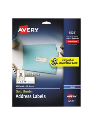 Easy Peel Address Labels w/ Border, Gold, 1 x 2 5/8, 30/Sheet, 10 Sheet/Pack