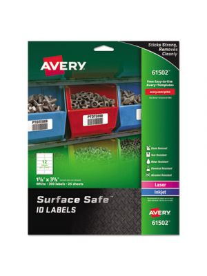 Surface Safe ID Labels, Inkjet/Laser, 1 5/8 x 3 5/8,White,12/Sheet, 25 Sheets/PK