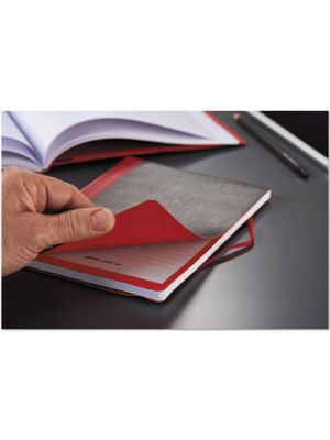 Flexible Casebound Notebooks, Legal Rule, Black/Red Cover, 9 7/8 x 7, 72 Pages