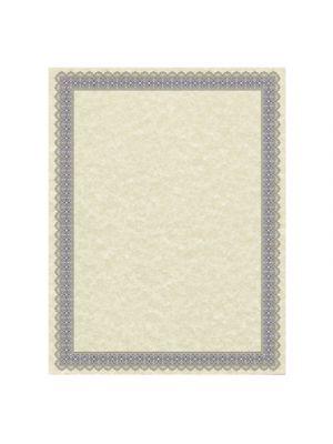 Parchment Certificates, Antique, 8 1/2 x 11, Ivory, Blue/Silver Border, 50/Pack