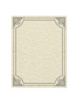 Parchment Certificates, Vintage, 8 1/2 x 11, Ivory, Silver Border, 50/Pack