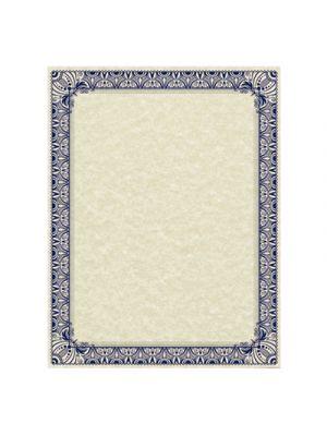 Parchment Certificates, Retro, 8 1/2 x 11, Ivory, Blue/Silver Border, 50/Pack