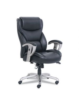 Emerson Big and Tall Task Chair, 22w x 21 1/2d x 22 1/2h Seat, Black Leather